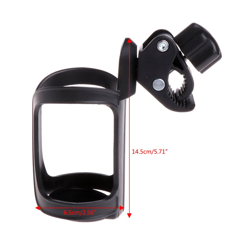 LANDUM Baby Stroller Accessories Cup Holder Cart Bottle Rack for Milk Water Pushchair Carriage Buggy Adjustable Black 14.5cmx6.5cm//5.71x2.56