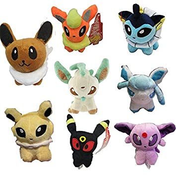 Plush Stuffed Pokemon Peluche Eevee Vaporeon Jolteon Flareon Umbreon Leafeon Glaceon Sylveon Doll Family Toys