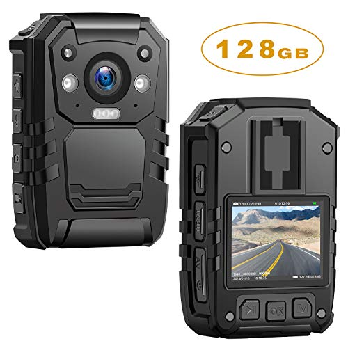 1296P HD Police Body Camera,128G Memory,CammPro Premium Portable Body Camera,Waterproof Body-Worn Camera with 2 Inch Display,Night Vision,GPS for Law Enforcement Recorder,Security Guards,Personal Use ()