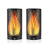 LED Flame Effect Light-Magnet Flickering Flame Bulb Light-Dancing Flame Lighting Magnetic Waterproof Table Lamp Dusk to Dawn Night Light for Halloween Christmas Party Outdoor Indoor Decor-2 Pack