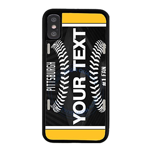 (BleuReign(TM) Personalized Custom Name Baseball Pittsburgh License Plate TPU Rubber Silicone Phone Case Back Cover for Apple iPhone X Ten)