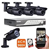 EWETON 8CH 960H DVR 1000TVL HD Security Camera System w/ 1TB HDD+4 Indoor/Outdoor Waterproof 120feet Night Vision Security Cameras Wide Angle Support Smartphone view Remote Access Email Alarm