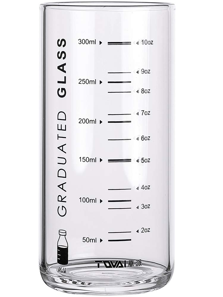 FREELOVE 300ml Scaled Cylinder Milk Glass/Measuring Cup (Black Words, 10 oz.)