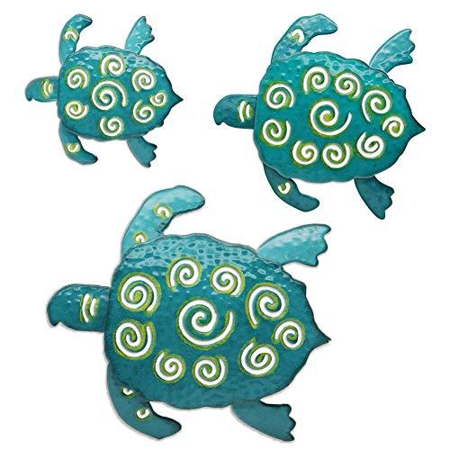 Juegoal Metal Wall Art Sea Turtles, Coastal Wall Decor Sculpture Hanging for Indoor, Outdoor, Living Room, Bedroom, Bathroom,Garden, 3 Pack