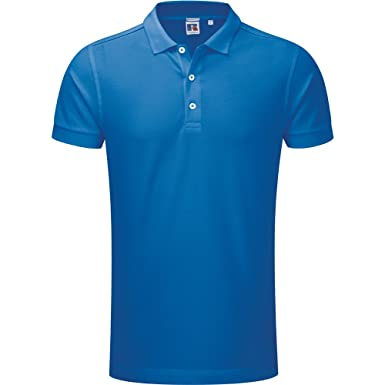 Russell Unisex Stretch Polo Shirt Blue Mens