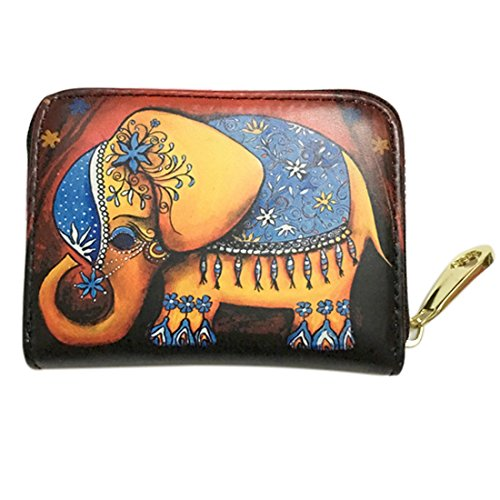 NEWANIMA Women PU Leather Tassel Square Mini Wallet Zip Coin Purse Card Holder Clutch Bag (Style2-Elephant)