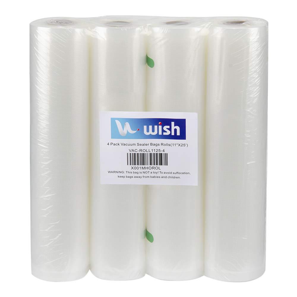 "Vacuum Sealer Bags(4-Pack), WISH 11""X25' Fits Inside Machine Heavy Duty Embossed Food Storage Saver Bag Rolls Suit for Sous Vide and FoodSaver (100 Feet Total)"