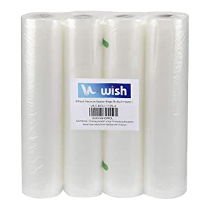 "Vacuum Sealer Bags(4-Pack), WISH 11""X25' Fits Inside Machine Heavy Duty Embossed Food Storage Saver Bag Rolls Suit for Sous Vide and FoodSaver (100 Feet Total)"