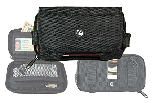 e-Vibe Wallet Case Ballistic Nylon Large with Belt Clip and Belt Loops Fits iPhone 8 Plus, iPhone 8, iPhone 7 Plus, iPhone 7