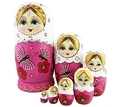 Cute Lovely Pink Dragonfly and Red Flower Pattern Handmade Wooden Russian Nesting Dolls Matryoshka Dolls Set 7 pieces For Kids Toy Birthday Christmas Gift Home Decoration