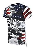 SCREENSHOTBRAND-S11843 Mens Hipster Hip-Hop Premium Tees - New York Latest Fashion American Flag Money Shirt - Navy - Medium