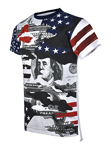 SCREENSHOTBRAND-S11843 Mens Hipster Hip-Hop Premium Tees - New York Latest Fashion American Flag Money Shirt - Navy - Medium by SCREENSHOT