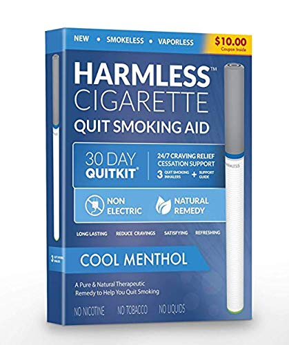 Stop Smoking Aid Oxygen Inhaler with Turbo-Flow Natural Quit Smoking Remedy a Smoke-Free Fake-Cigarette to Reduce Cravings and Overcome The urge to Smoke (Cool Menthol, 3 Pack/Full Quit Kit) by Quit Smoking Aid