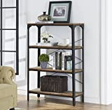 "O&K Furniture 4-Shelf Industrial Vintage Bookcase, Metal Bookshelf, 48""H x 33""W x 13""D, Barn-Wood Finish"