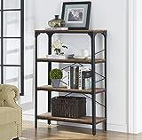 "O&K Furniture 4-Shelf Industrial Vintage Bookcase, Metal Bookshelf, 48""H x 33""W x 13""D, Barn-Wood Finish For Sale"