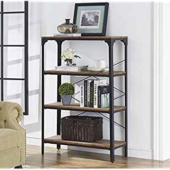 Lovely Ou0026K Furniture 4 Shelf Industrial Vintage Bookcase, Metal Bookshelf, 48u201dH X  33u201dW X 13u201dD, Barn Wood Finish Good Looking