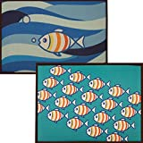 "Set of 2 Matching Beach House Mats - Easy to Wash - Non-slip Set of Two 24""X16"" Indoor Carpets. Made for using as Accent Rugs for Bedroom - Doormats for Bathroom or Floormats for Kitchen!"