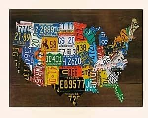 USA License Plate Map Print Wood Frame Wall Decor