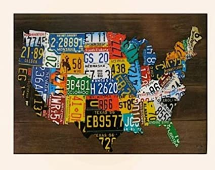 Us Map Made Out Of License Plates.Amazon Com Usa License Plate Map Print Wood Frame Wall Decor