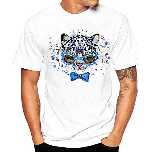 JJLIKER Men's Women Unisex Casual Short Sleeve Graphic Tee Hipster Print Cotton T-Shirt Slim Fit Blouse Tops White ()