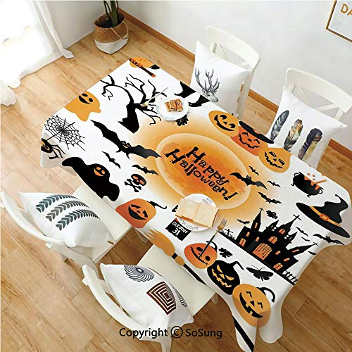 SoSung Halloween Decorations Rectangle Polyester Tablecloth,All Hallows Day Objects Haunted House Owl and Trick or Treat Candy,Dining Room Kitchen Rectangle Table Cover,54W X 90L inches,Orange Black -