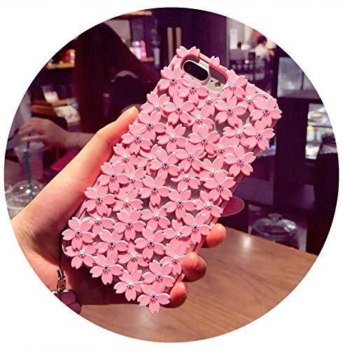 Cute Hollow Out Cherry Blossoms Flowers Beads Soft Case for iPhone X 6 6s 7 8 Plus Back Cover Case with Lanyard 5Color,Pink,for iPhone 6,with Lanyard