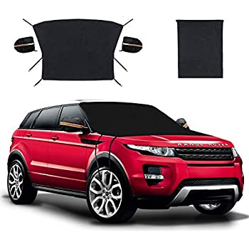 MAKHISTORY Car Windshield Snow Cover for Any Car Truck SUV Van Anti-Theft Buckle and 4 Elastic Belt with Hooks Double-Side Sun//UV Protectors with 2 Separate Mirror Covers