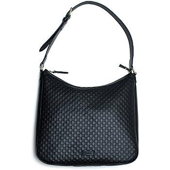 7c1c793b926b87 MicroGuccisima Black Large Hobo Leather Bag Buckle Top zip Purse Italy New