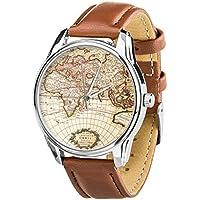 Watch World Map brown. Mens wrist watch. Travel gift. Vintage wrist watch. Travel watch. Unisex wrist watch. Going away gift watch.