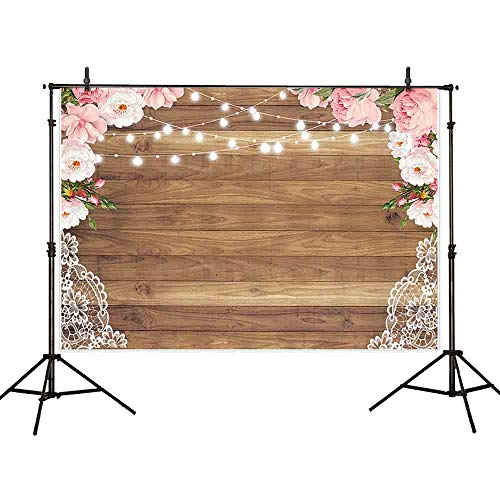 (Allenjoy 8x6ft Soft Fabric Large Wood Texture Floral Curtain Lace Flower Border Background for Bridal Baby Shower Birthday Bachelorette Party Photography Backdrop Rustic Wedding Decorations)