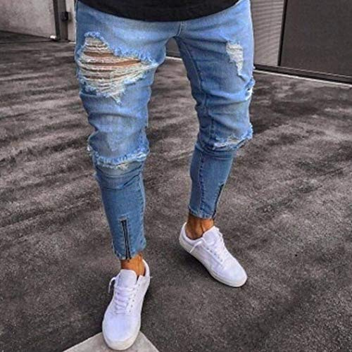 Lunghi Pants Jeans Chiusura Long Zipper Fit Estilo Esterni Rip Skinny Biker Distressed Uomo Frayed Con Pantaloni Slim Hellblau Especial xnAI7