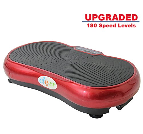 Clevr Upgraded Red Mini Full Body Vibration Platform Massage Machine w/ Bluetooth MP3, UPgraded 180 Speed Levels