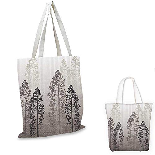 Country royal shopping bag Pine Trees in the Forest on Foggy Seem Ombre Backdrop Wildlife Adventure Artwork funny reusable shopping bag Warm Taupe. 14