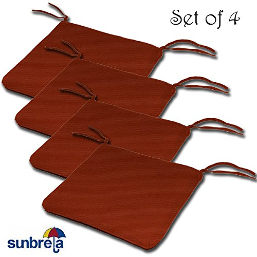 (SET OF 4 18W x 18Dx 2H Sunbrella Outdoor WATERFALL STYLE SEAT PAD CUSHION in Terracotta by Comfort Classics Inc. Made in)