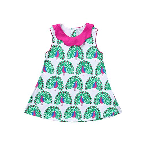Baby Girls Dresses,Kids Child Toddler Girls Peacock Printed Sleeveless Princess Dress Clothes 2-8Years Old(White,4-5Y) -