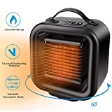 VPKID Space Heater, Portable Ceramic Heater Fan with Adjustable Thermostat & Carrying Handle, Quiet Oscillating PTC Heater Tip-Over and Overheating Protection for Office Indoor Bedroom, Black