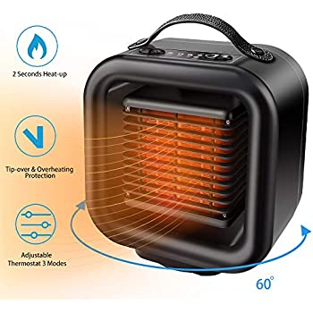 Vpkid Space Heater Portable Ceramic Heater Fan With Adjustable Thermostat