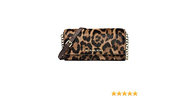 1d78590c0d1f Michael Kors Jet Set Travel Leopard Hair Calf Chain Wallet  Handbags   Amazon.com