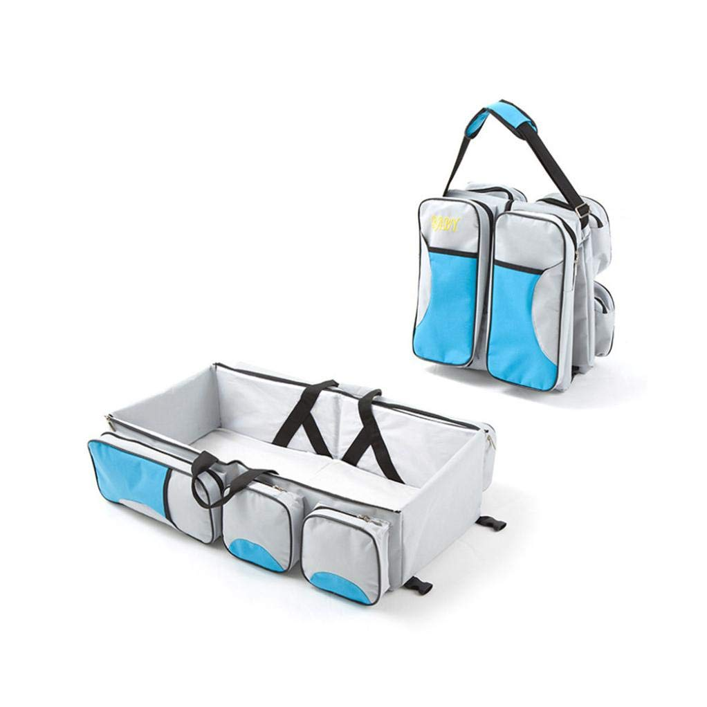 Baby Carry Cot Bag Nursey Changing Bag Multi-purpose Diaper Bag Travel Bassinet Changing Station 3 in 1 - Travel Bed (Light Blue) by FreshZone