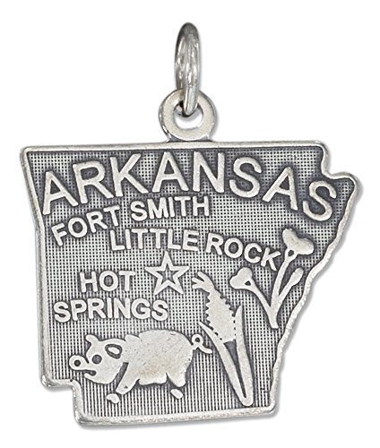 (Sterling Silver Antiqued Arkansas State Charm)