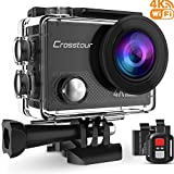 Crosstour 4K Sports Action Camera WIFI 16MP Ultra HD Waterproof Underwater Camcorder with Remote Control 170°Wide-angle 2 Inch LCD Plus 2 Rechargeable 1050mAh Batteries and Mounting Accessories Kit