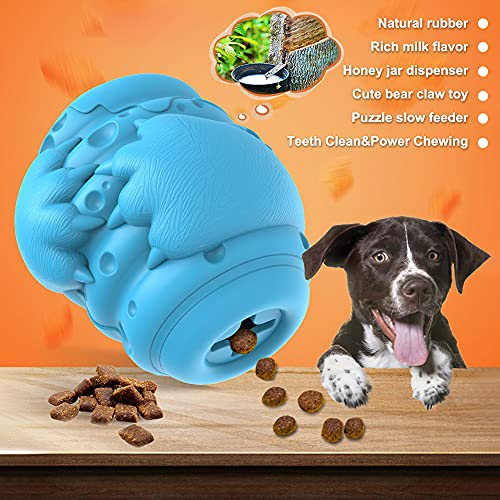 Dog Puzzle Toys - Treat Dispensing Dog Toys, Slow Feeder, Pet Treat Interactive Toys for Aggressive Chewers, Natural Rubber Teethbrush for Medium Large Breeds - Blue