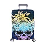 Skull With Lily Flowers In The Space Pattern Spandex Trolley Case Travel Luggage Protector Suitcase Cover 28.5 X 20.5 Inch