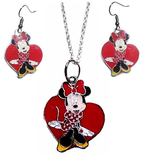 Mainstreet247 Minnie Mouse Heart Pendant Necklace and French Wire Earring Set