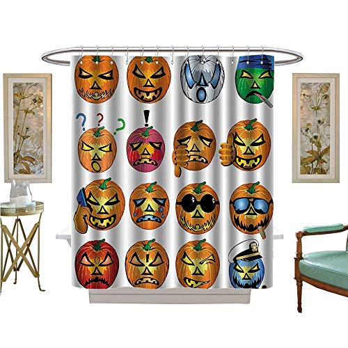 PINAFORE Shower Curtains Digital Printing Carved Pumpkin with Emoji ces Halloween Humor Hipster Msters Harvest Fabric Bathroom Set with Hooks