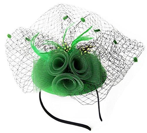 Fascinator Womens Pillbox Hat British Bowler Hat Flower Veil Wedding Hat Tea Party Hat (Green) - Retro Hat