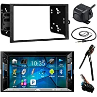 JVC KWV120BT 6.2 LCD Bluetooth CD DVD Car Stereo Receiver Bundle Combo With Waterproof RearView Backup Camera + Dash Kit + Wire Harness For GM Vehicles + Enrock 22 AM/FM Radio Antenna With Adapter