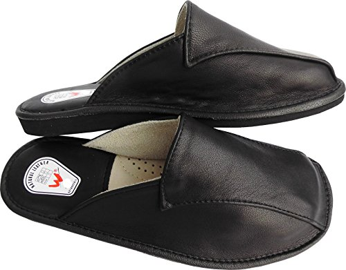 Hausschuhe - Latschen - Pantoffeln Gr.40, 41, 42, 43, 44, 45, 46, Echt LEDER, SCHWARZ(Made in Poland 23/11/4/89)