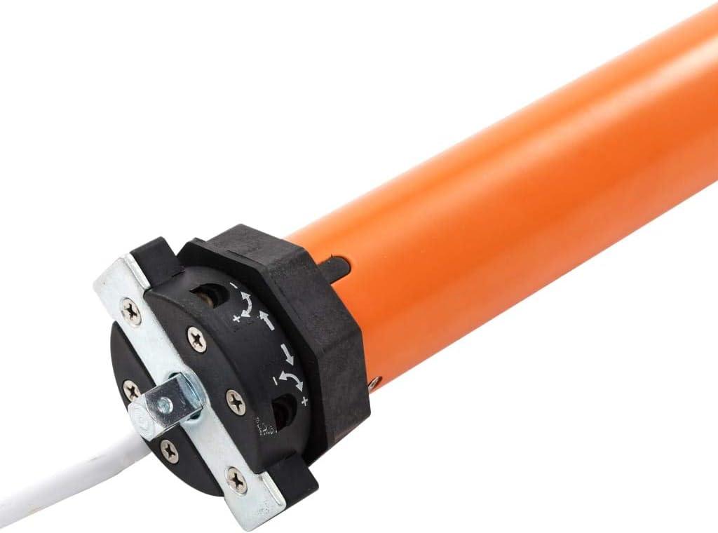 vidaXL Motor Persiana Enrollable Eléctrico 45 mm Rodillo Tubular Electromecánico Enrollar Persianas Toldo Parasoles 20-25 kg Peso Máximo 10 Nm Naranja