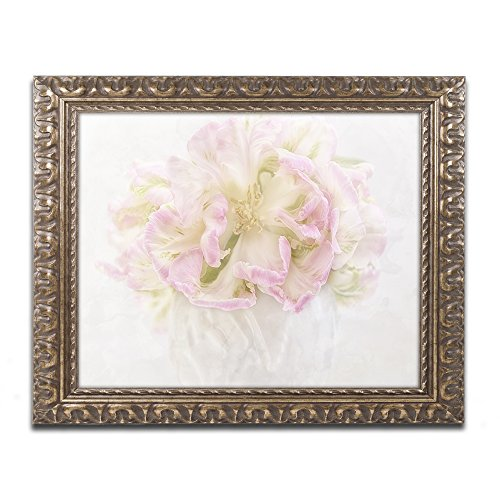 Pink Parrot Tulips Bouquet by Cora Niele Gold Ornate Frame, 16 x 20